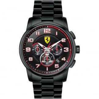 Men's Heritage Black Steel Chronograph Watch 0830054