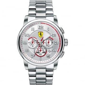 Men's Steel Chronograph Watch with Red Accents 0830055