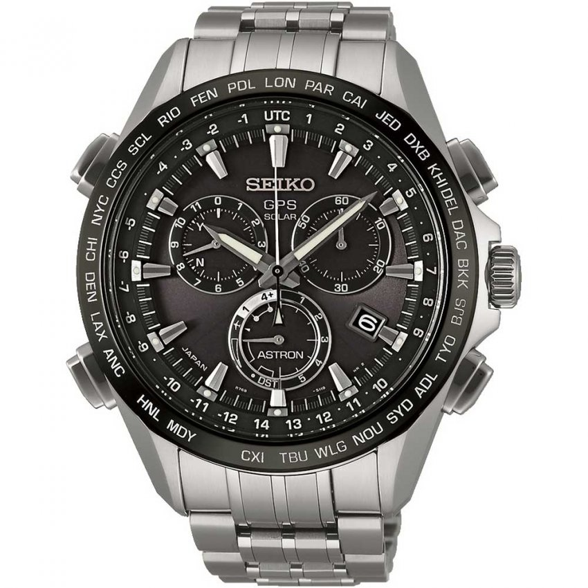 Seiko astron men 39 s gps all titanium solar chronograph watch watches from francis gaye for Titanium watches