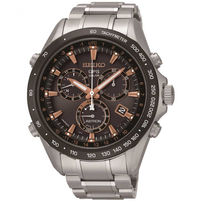 Seiko Astron Men's GPS Solar Ceramic Bezel Chronograph Watch SSE033J1