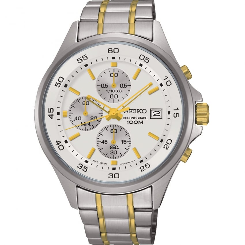 Seiko Gent's Two Tone Chronograph Watch SKS479P1