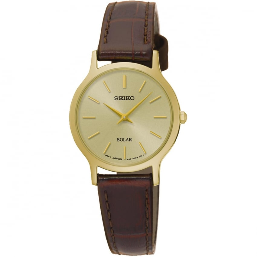 Seiko Ladies Brown Leather Gold Plated Solar Watch SUP302P1
