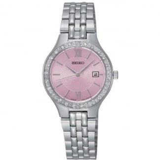 Ladies Dress Pink Dial Stone Bracelet Watch