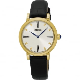 Ladies Gold Plated Quartz Black Strap Watch