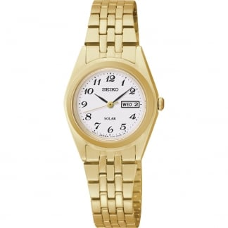 Ladies Gold Plated Solar Day/Date Watch