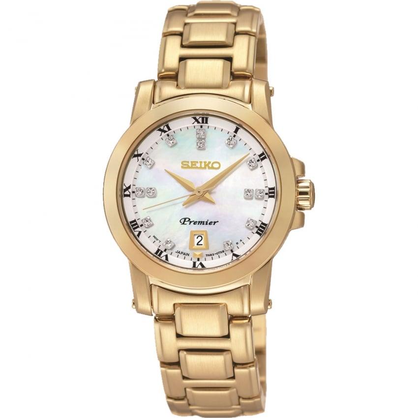 Seiko Ladies Gold PVD Diamond Set Premier Watch SXDG04P1
