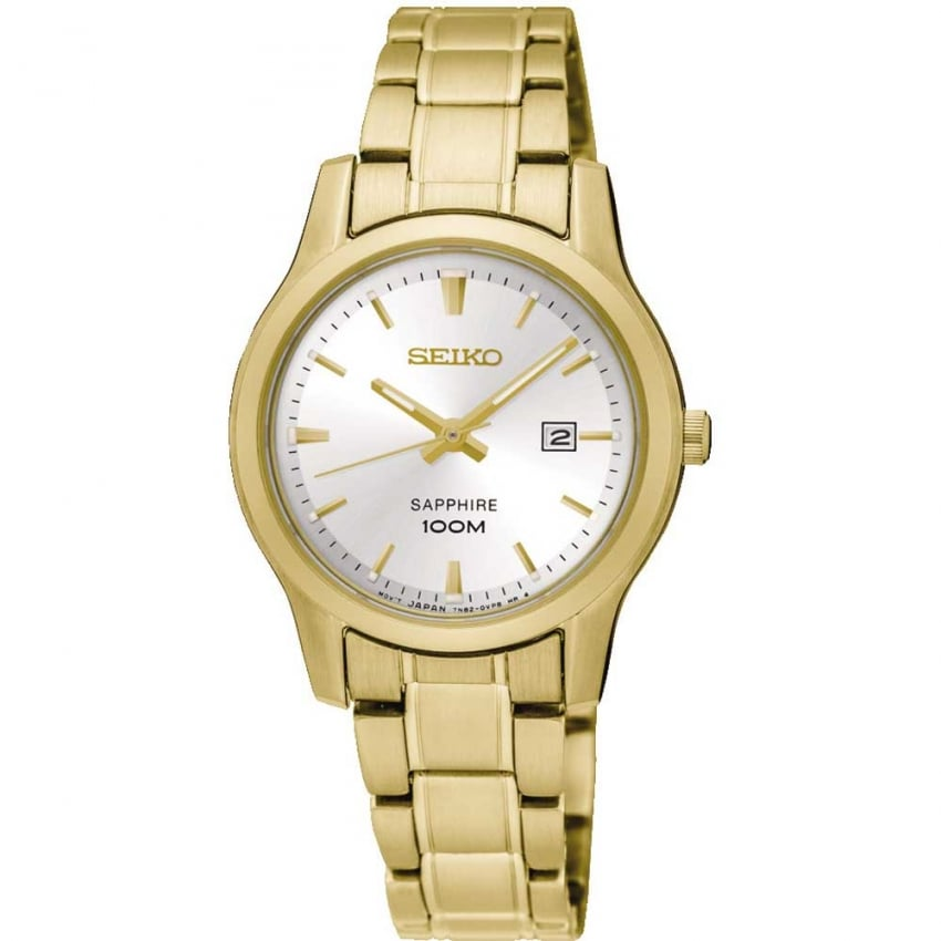 Seiko Ladies Gold Tone Sapphire Glass Watch SXDG92P1