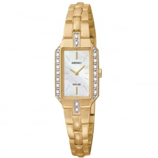 Ladies Mother of Pearl Gold Plated Diamond Solar Watch SUP236P9