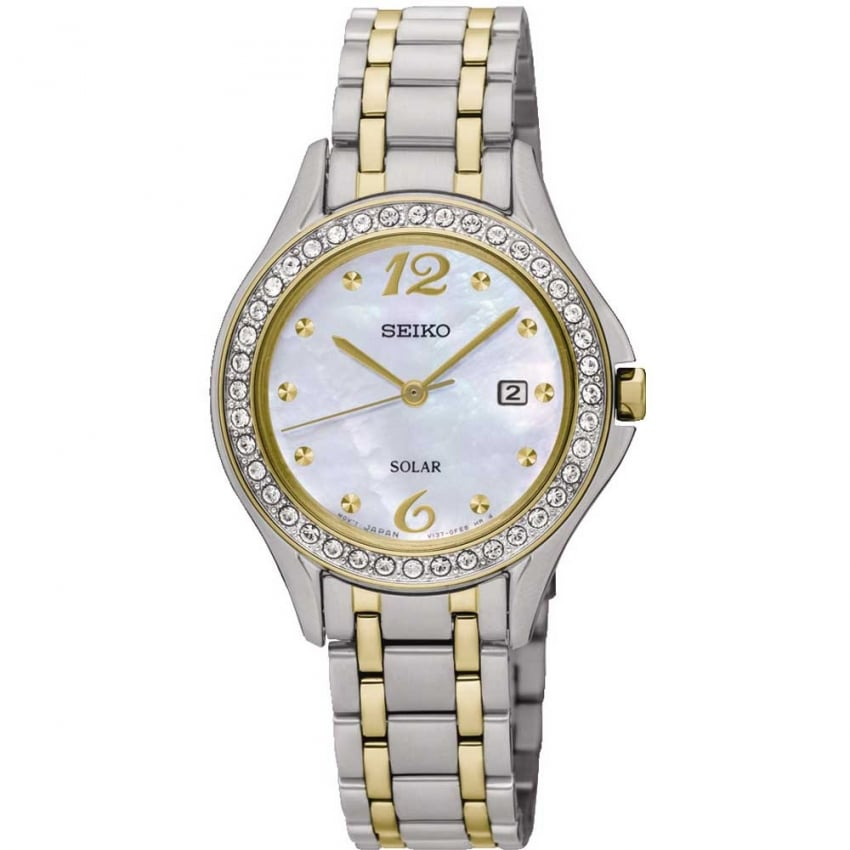 Seiko Ladies Mother of Pearl Two Tone Solar Watch SUT312P9