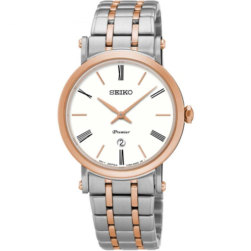 Seiko Ladies Premier Steel & Rose Bracelet Watch SXB430P1