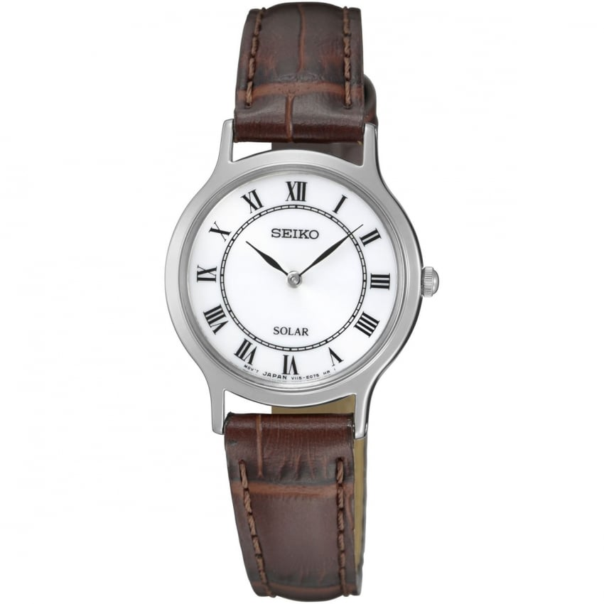 Seiko Ladies Simple Brown Leather Solar Watch SUP303P1