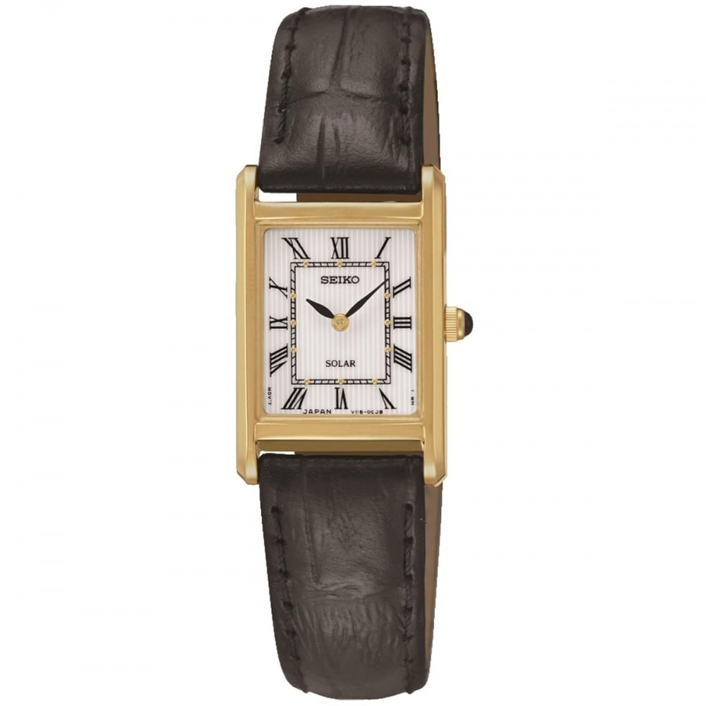 Seiko Ladies Solar Black Leather Dress Watch
