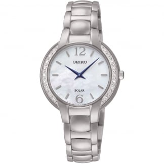 Ladies Solar Diamond Set Mother of Pearl Watch