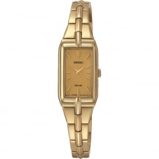 Ladies Solar Gold Plated Bracelet Watch