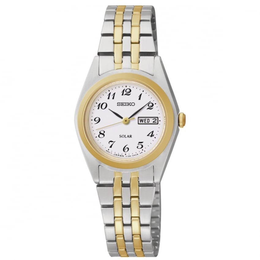 Seiko Ladies Solar Powered Two Tone Bracelet Watch SUT116P9