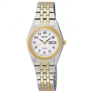 Ladies Solar Powered Two Tone Bracelet Watch SUT116P9