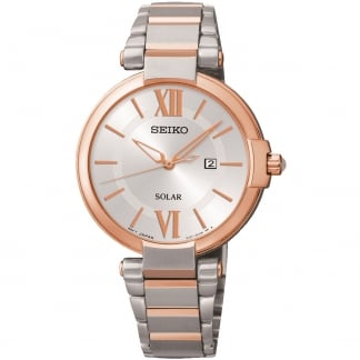 Ladies Solar Steel & Rose PVD Day/Date Watch