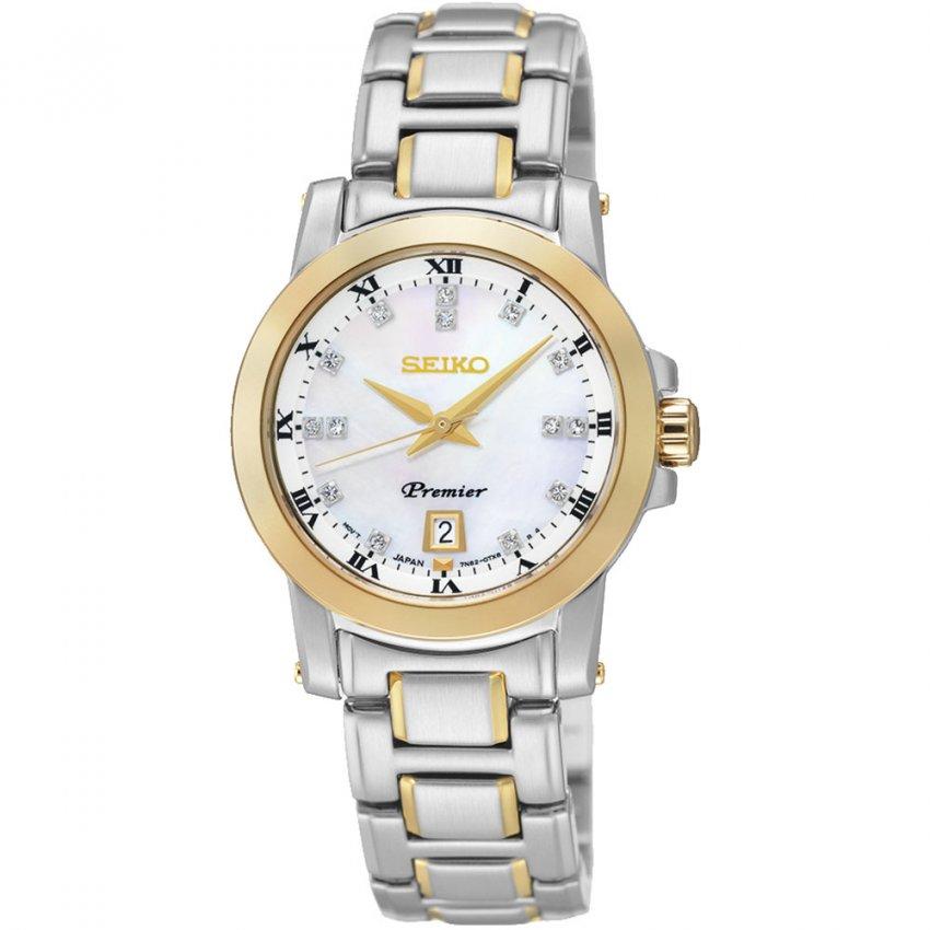 Seiko Ladies Two Tone Premier Diamond Set MOP Dial Watch SXDG02P1
