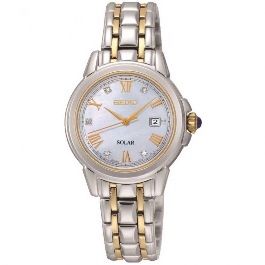 Seiko Ladies Two Tone Solar Diamond Watch SUT244P9