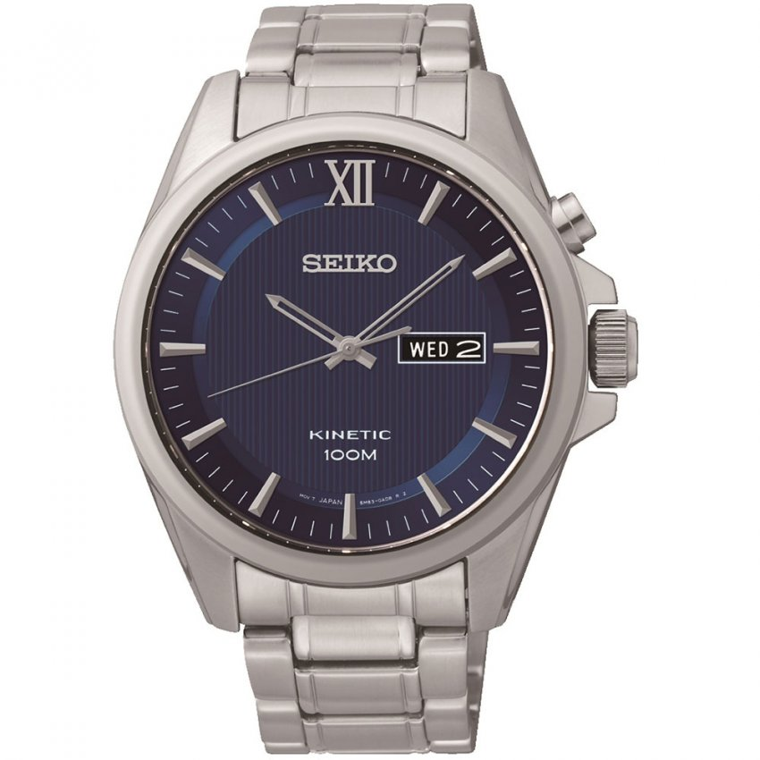 Seiko Men's All Steel Kinetic Blue Day & Date Dial Watch SMY159P1