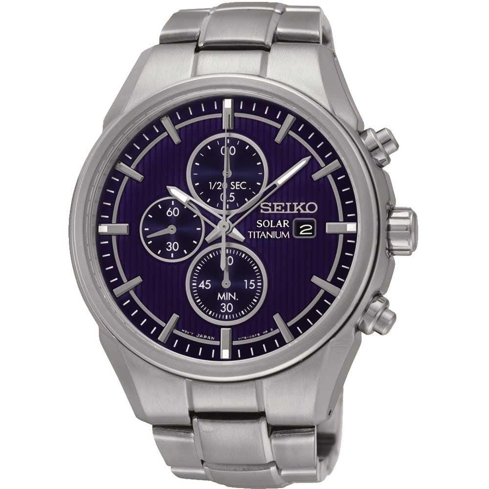 c3c93b87e6b51 Seiko Men s Blue Dial Titanium Solar Chronograph Watch Product Code   SSC365P1