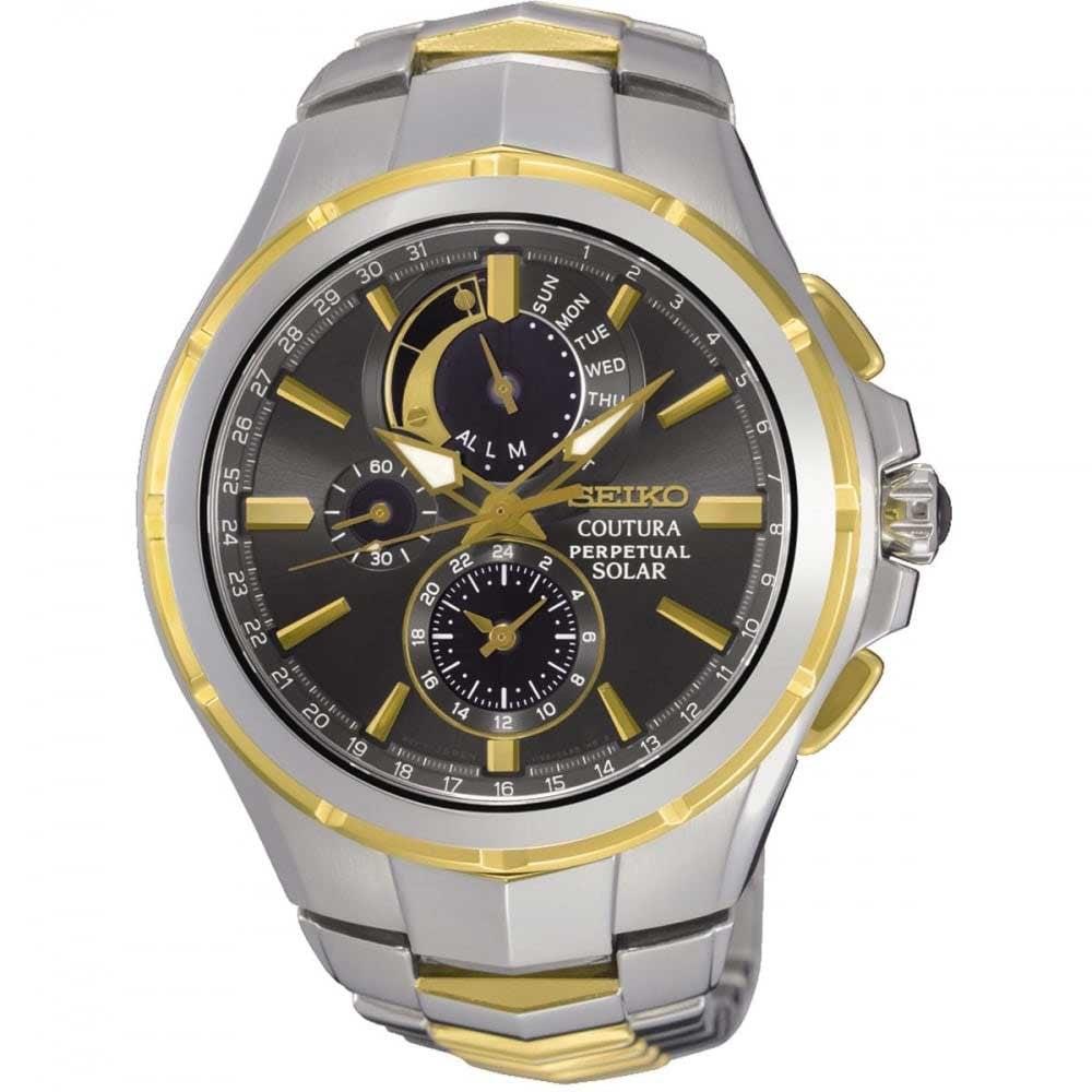 Seiko Perpetual Calendar.Seiko Men S Coutura Perpetual Calendar Two Tone Solar Watch