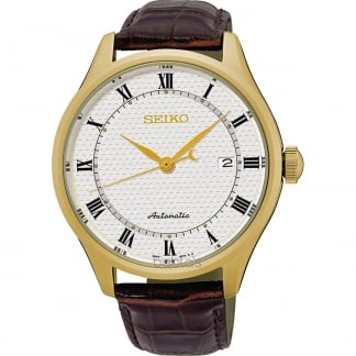 Men's Gold Plated Automatic Leather Strap Watch SRP770K1