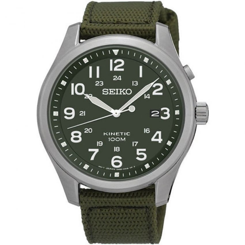 Seiko Men's Kinetic Military Green Canvas Strap Watch SKA725P1