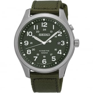 Men's Kinetic Military Green Canvas Strap Watch SKA725P1
