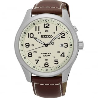 Men's Neo Sport Kinetic Brown Strap Watch