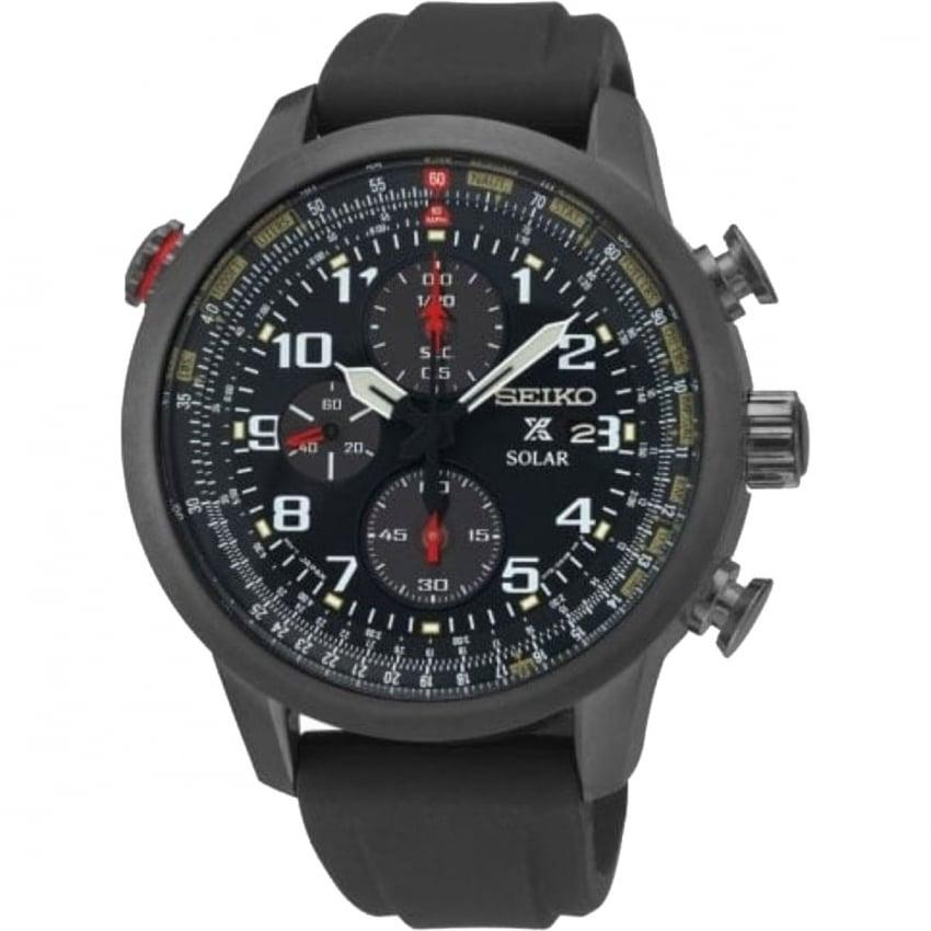Seiko Men's Prospex Pilot Chrono Resin Strap Solar Watch SSC371P9