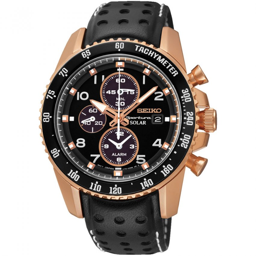 Seiko Men's Rose Gold Steel Sportura Solar Powered Watch with Leather Strap SSC274P9