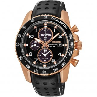 Men's Rose Gold Steel Sportura Solar Powered Watch with Leather Strap SSC274P9