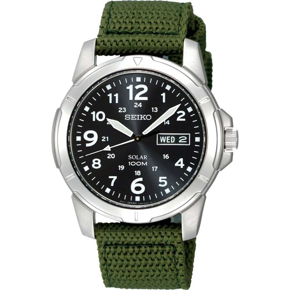 5daad54b7 Seiko Men's Solar Day & Date Display Canvas Strap Watch Product Code:  SNE095P2