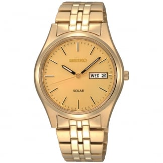 Men's Solar Gold Plated Bracelet Day/Date Watch