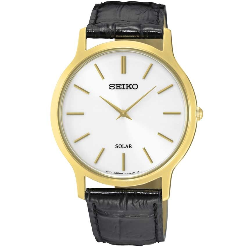Seiko Men's Solar Gold PVD Black Leather Watch SUP872P1