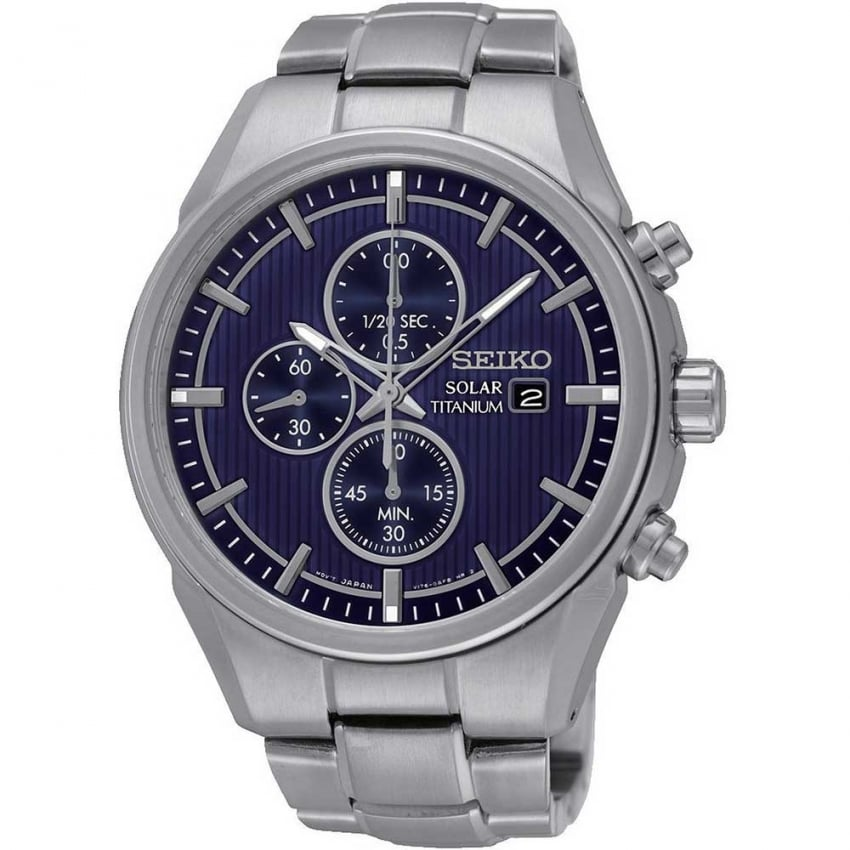 Seiko Men's Solar Titanium Blue Dial Chronograph Watch SSC365P1