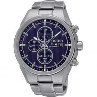 Men's Solar Titanium Blue Dial Chronograph Watch SSC365P1