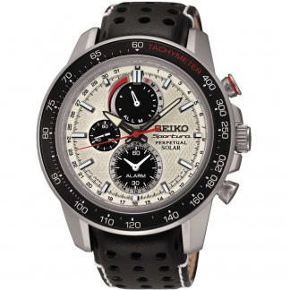 Men's Sportura Leather Perpetual Solar Chronograph Watch SSC359P1