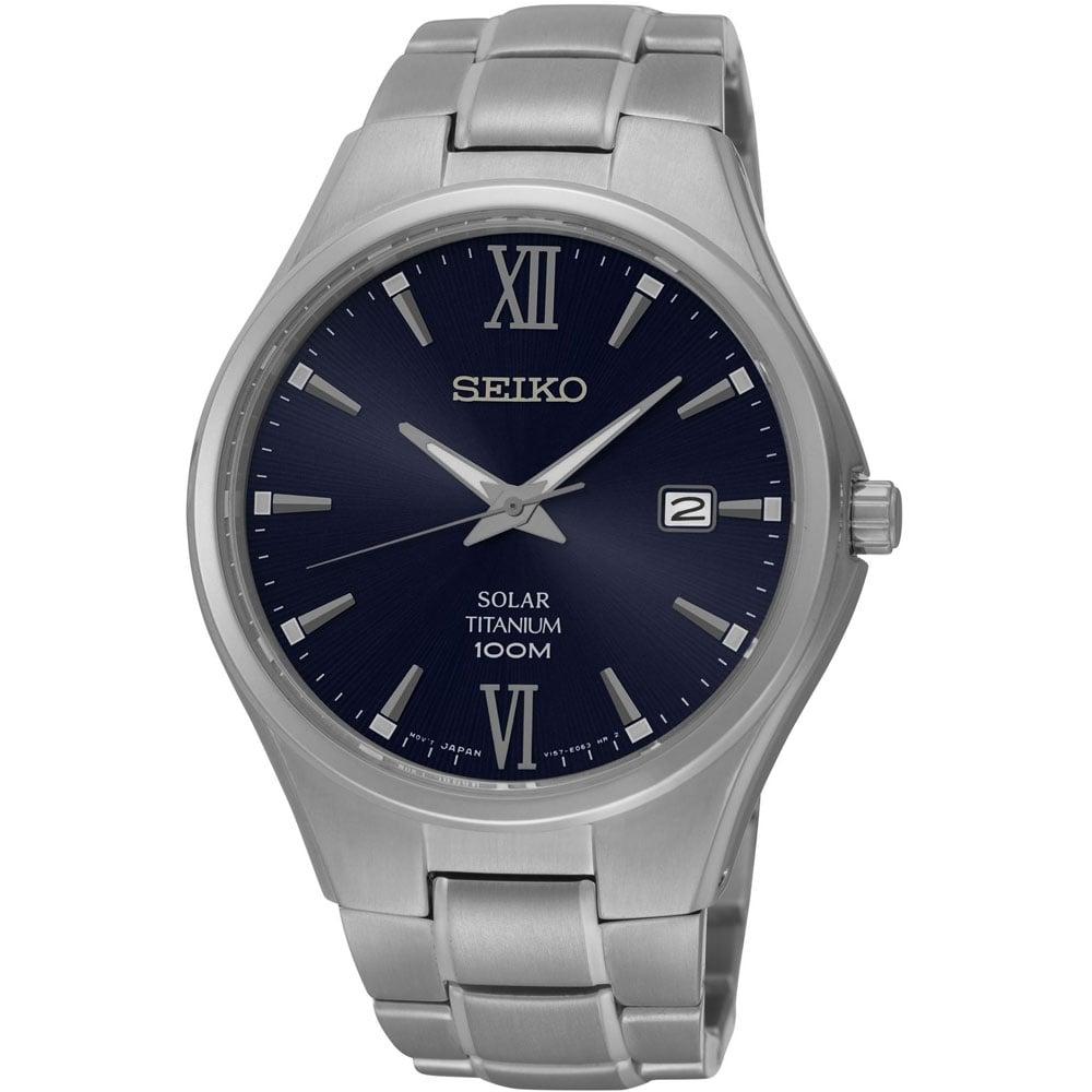 b7ab9e3ece062 Seiko Men s Titanium 100M Blue Dial Solar Watch Product Code  SNE407P1