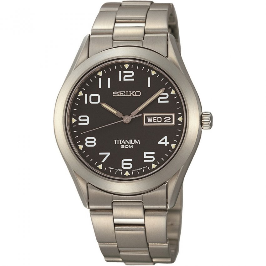 Seiko Men's Titanium Day & Date Display Charcoal Dial Watch SGG711P9