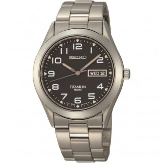 Men's Titanium Day & Date Display Charcoal Dial Watch