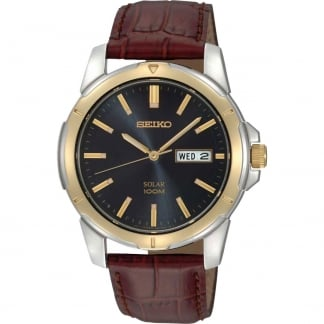 Men's Two Tone Brown Leather Solar Day/Date Watch SNE102P9