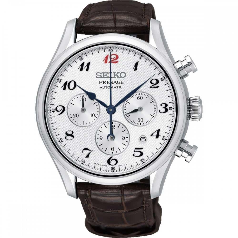 Seiko Presage Gent S White Enamel Automatic Chronograph Watch
