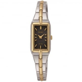 Women's Black Dial Two Tone Solar Watch