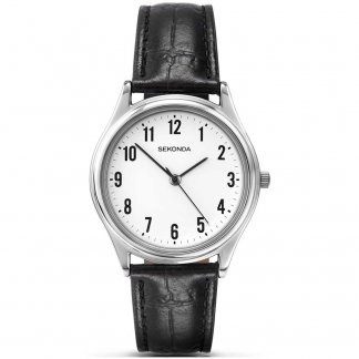 Black Leather Classic Men's Quartz Watch 3621