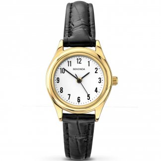 Gold Plated Classic Black Leather Ladies Watch