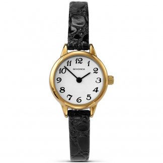 Ladies Black Skinny Leather Gold Plated Watch 4473