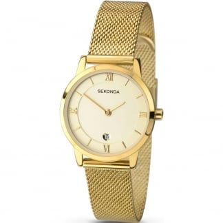 Ladies Gold Tone Mesh Quartz Watch 2103