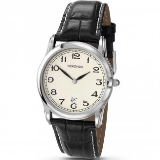 Men's Black Leather Classic Quartz Watch